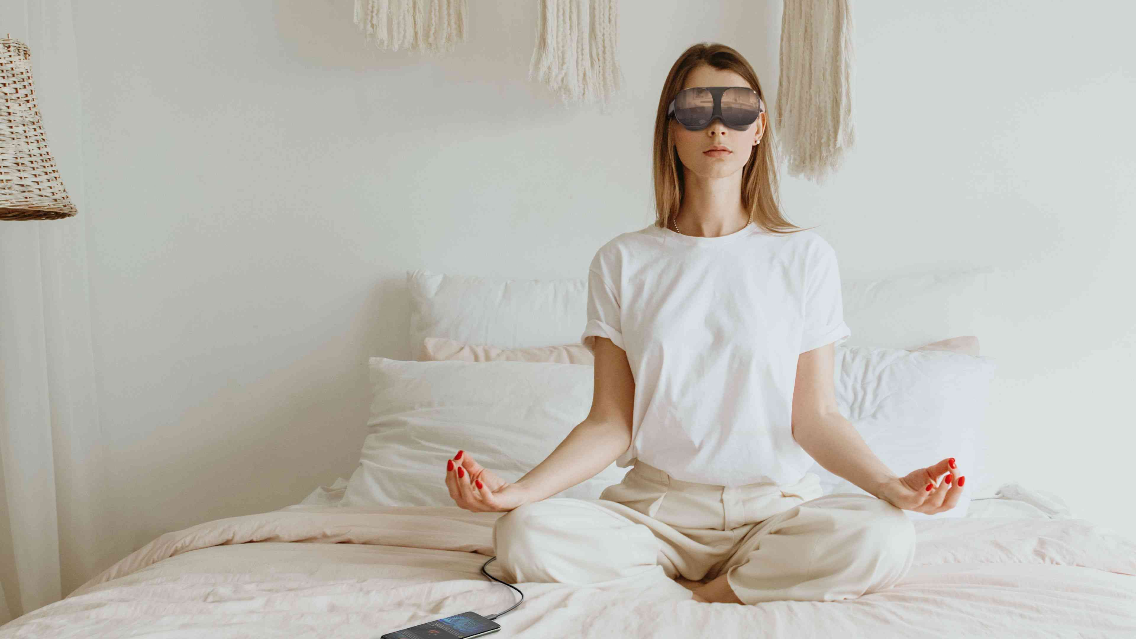 Woman meditating with Vive Flow