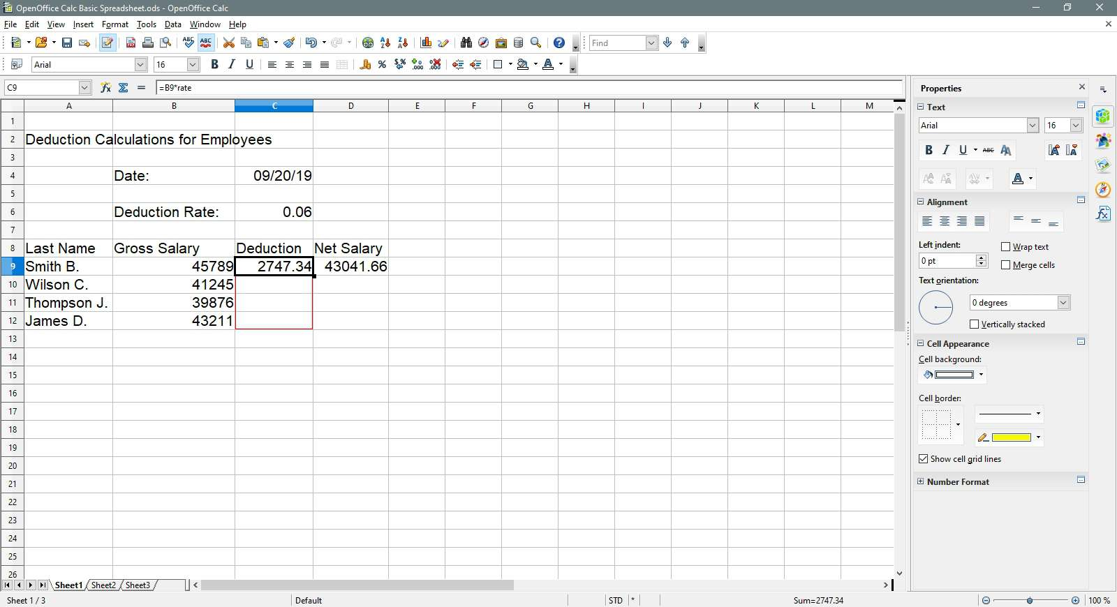 Selecting a column of cells in OpenOffice Calc.