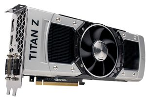 Product shot of the GeForce GTX TITAN Z graphics card from Nvidia