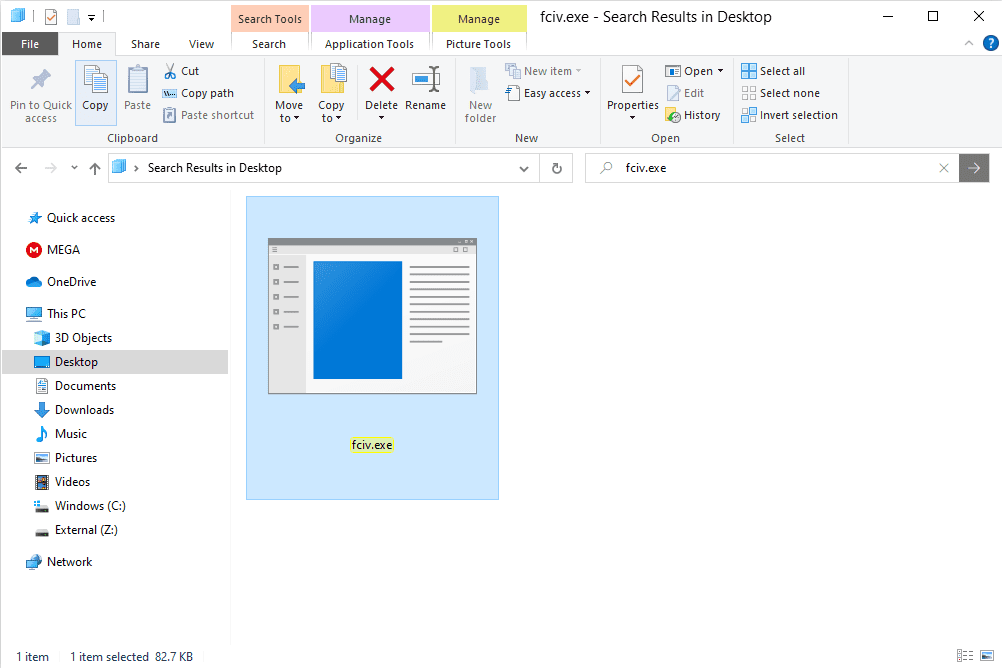 fciv file highlighted and copy button selected