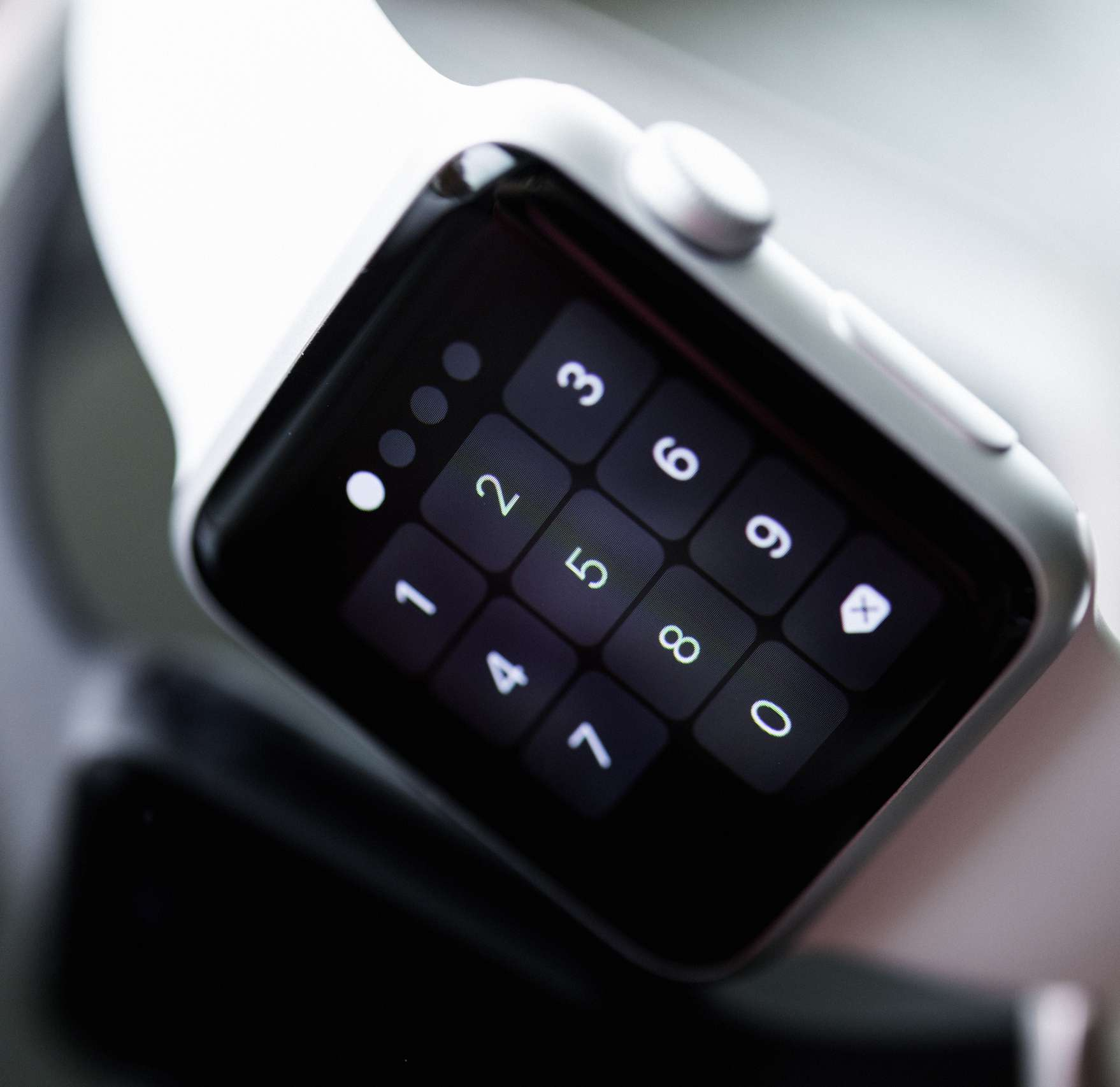 Apple watch face showing passcode screen