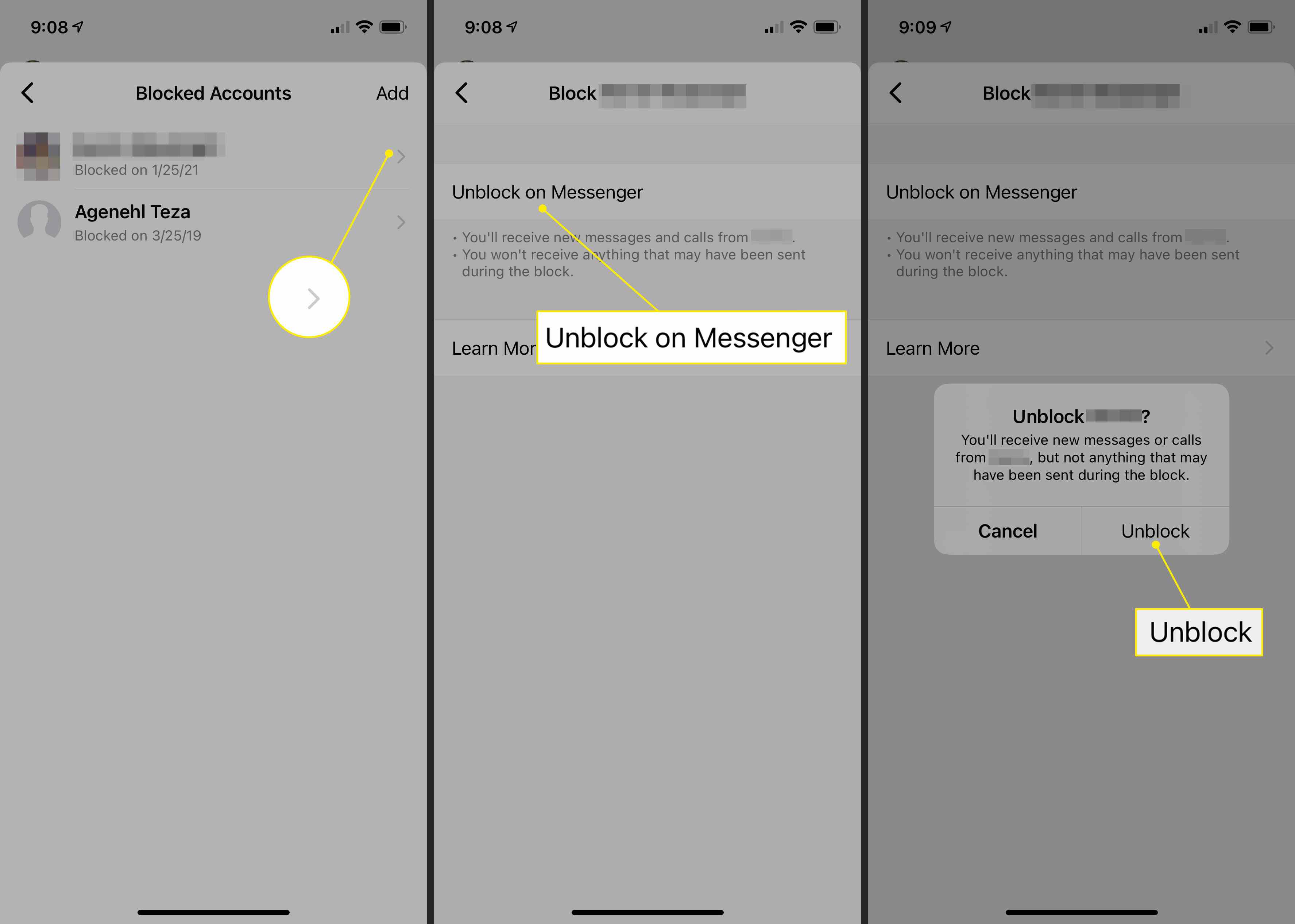 Unblocking a contact in Facebook Messenger