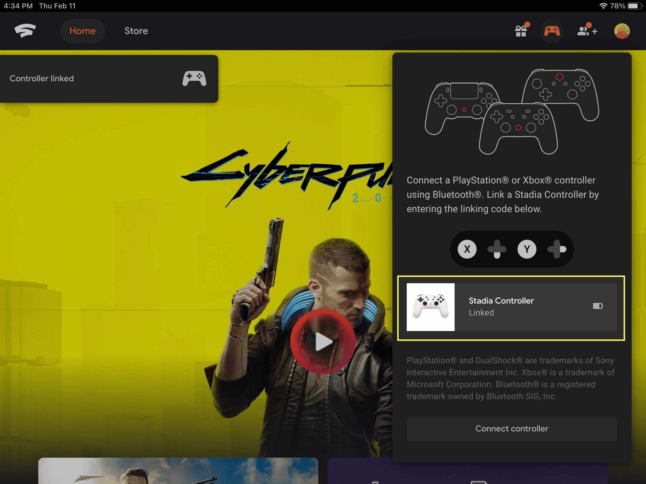 The Stadia website displaying a connected controller in Safari.