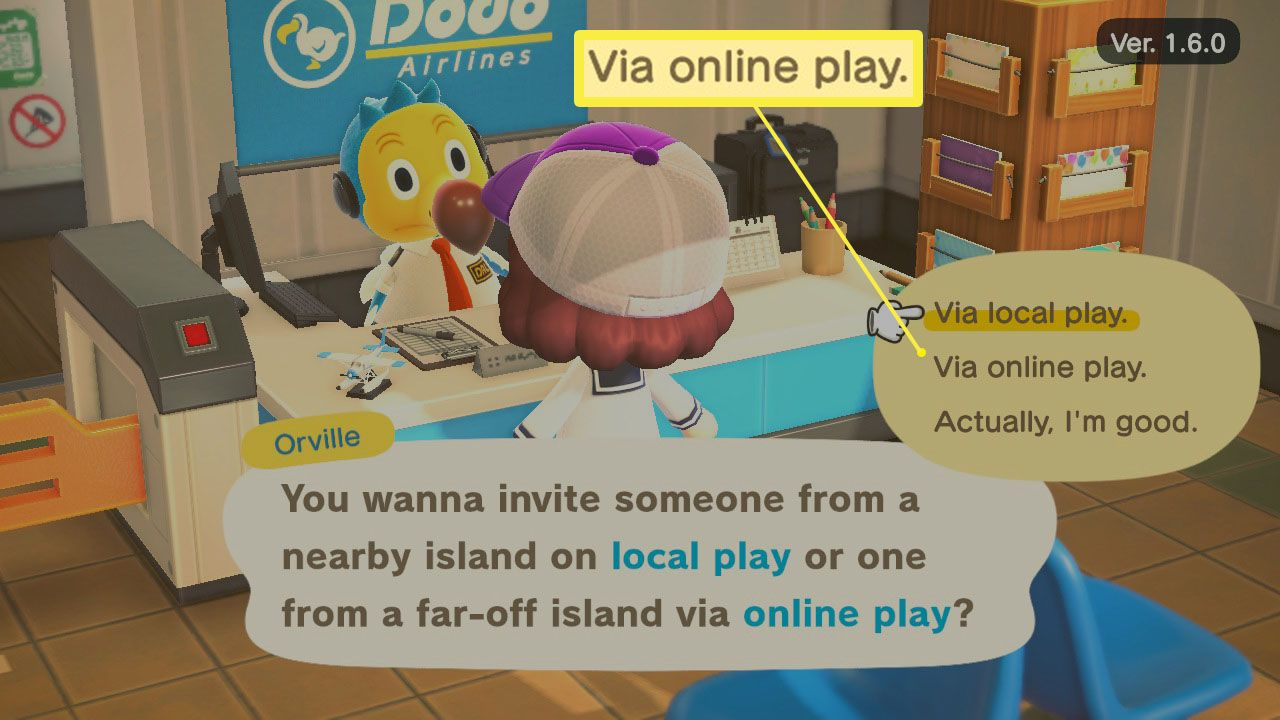 Via online play option at Dodo's Airlines in Animal Crossing; New Horizons