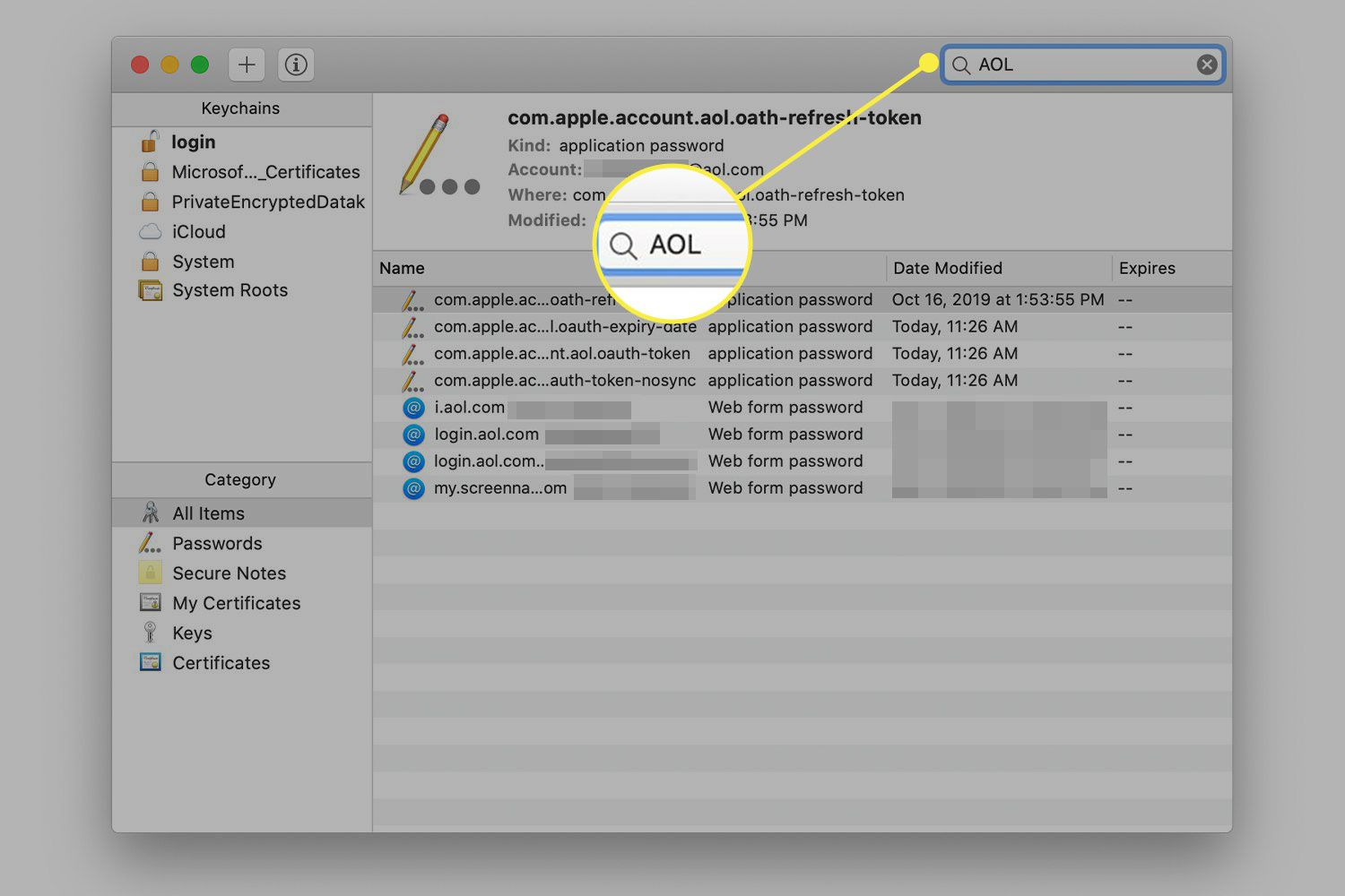 A screenshot of Keychain Manager in macOS with the search bar highlighted