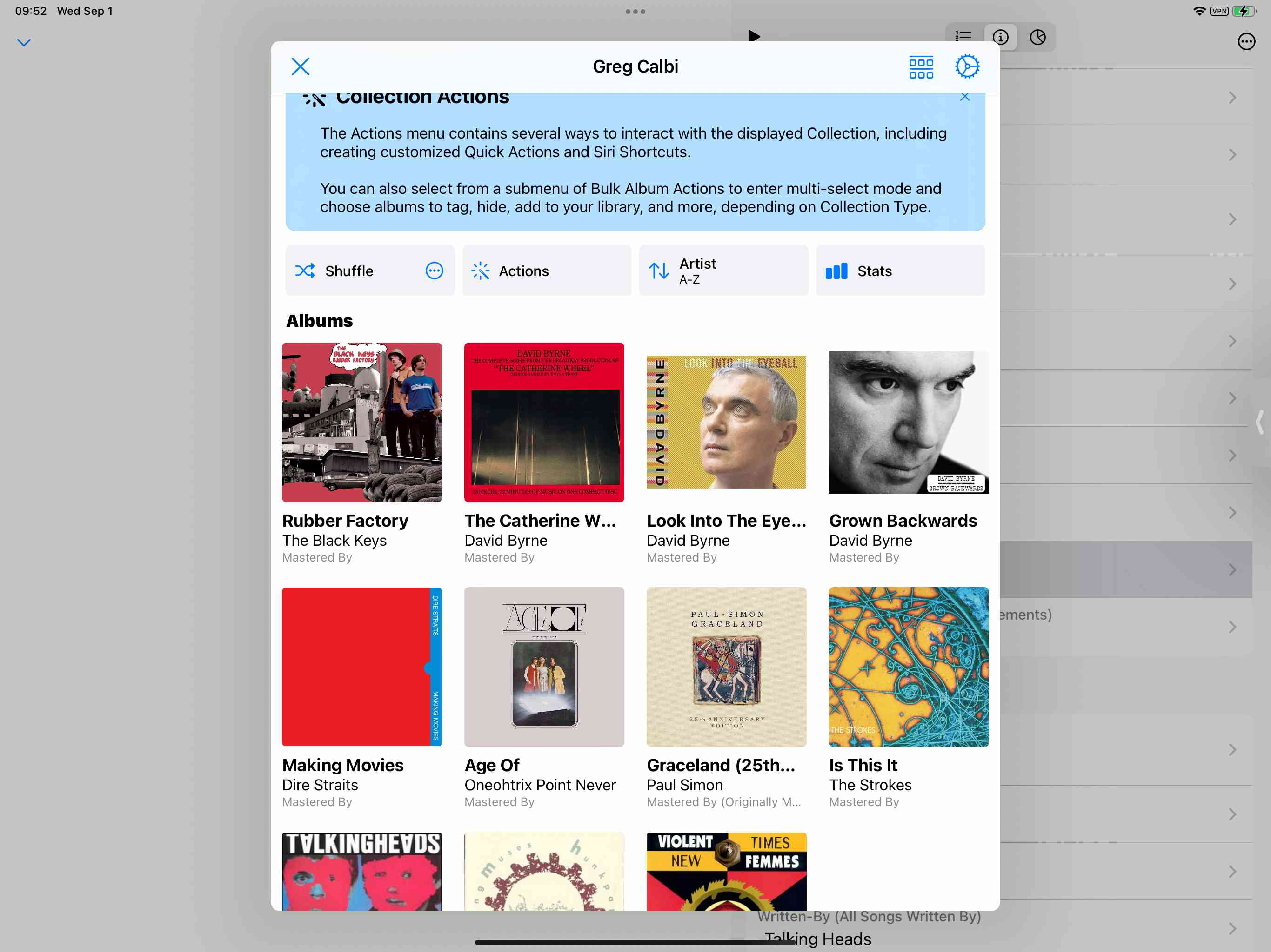 A screenshot from the Albums app.