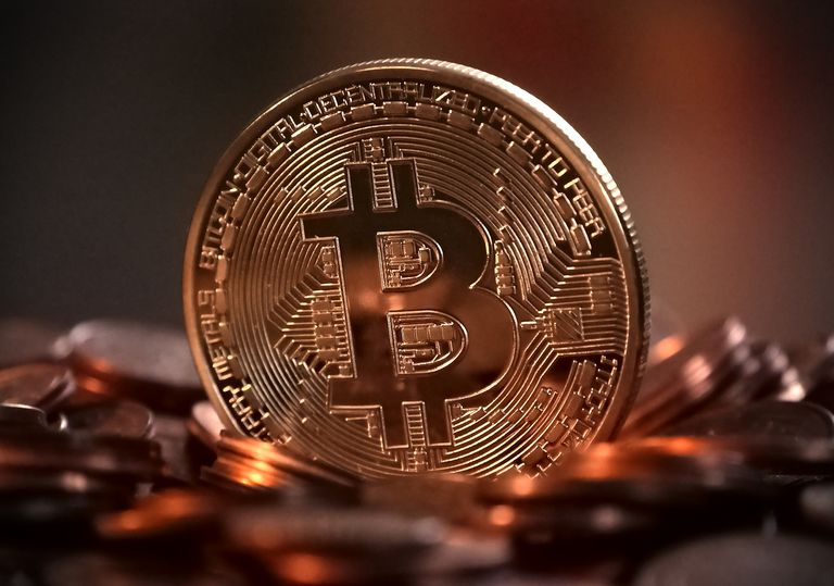 Bitcoin representation in copper coin