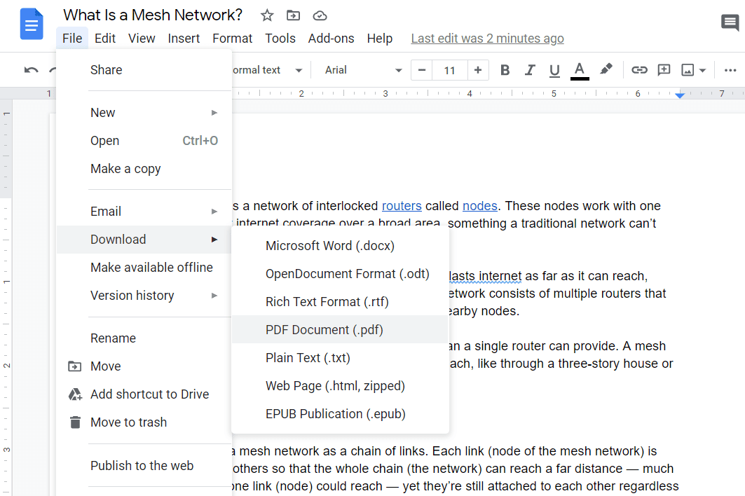 Screenshot of the download as PDF option in Google Docs