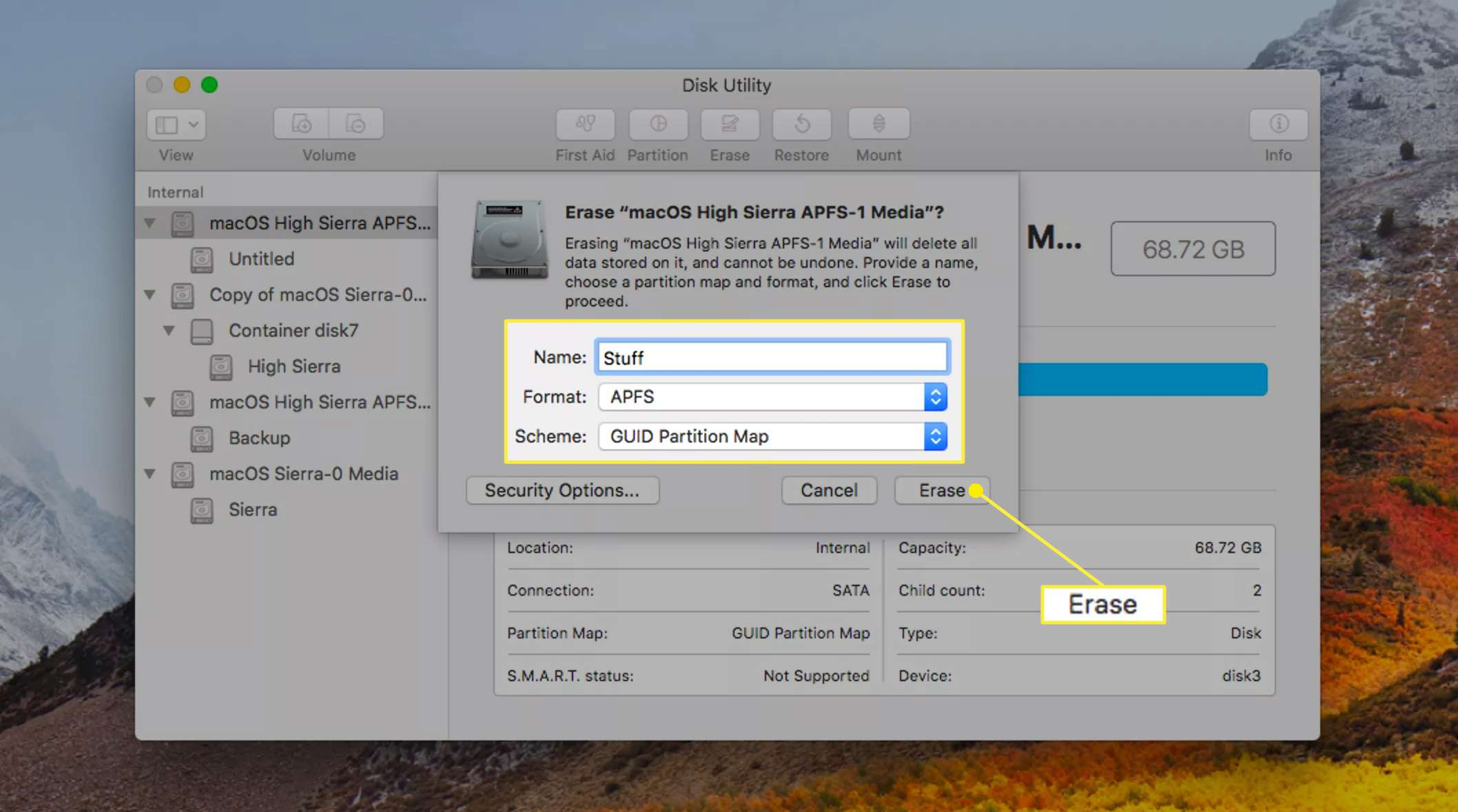 Formatting a drive with APFS using Disk Utility