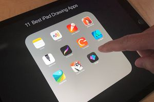 Photo of iPad folder, showing all 11 apps featured in the article, with a finger about to tap on the screen