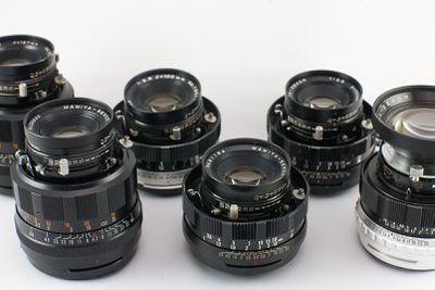 A selection of old camera lenses