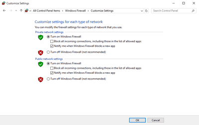 Screenshot of the Windows Firewall settings in Windows 10