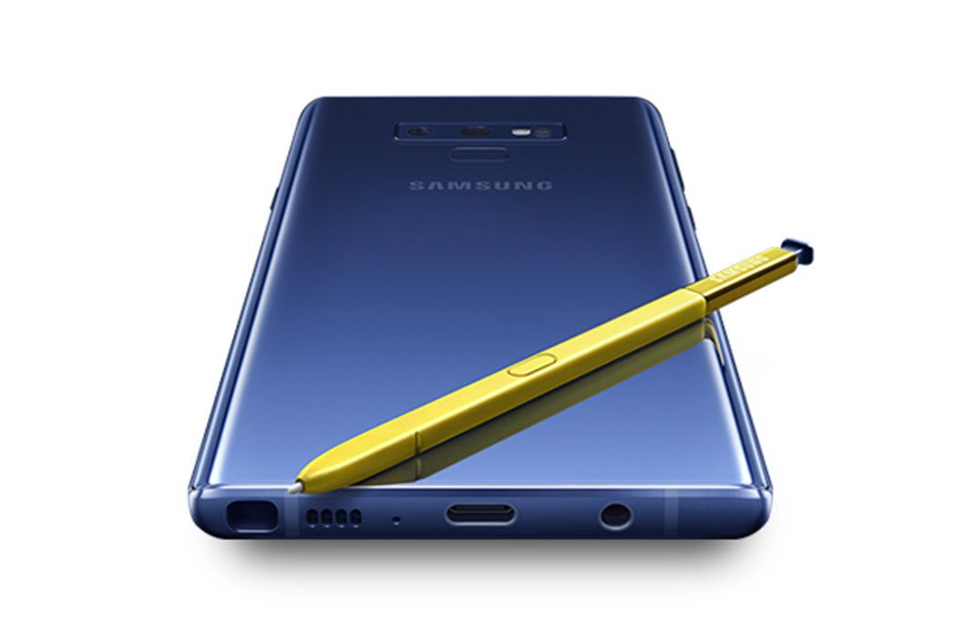 The Samsung Galaxy Note 9 with the powered, Bluetooth S Pen.