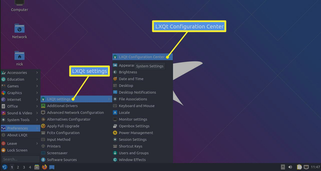 Lubuntu preferences menu with LXQt and LXQt Configuration Center selected