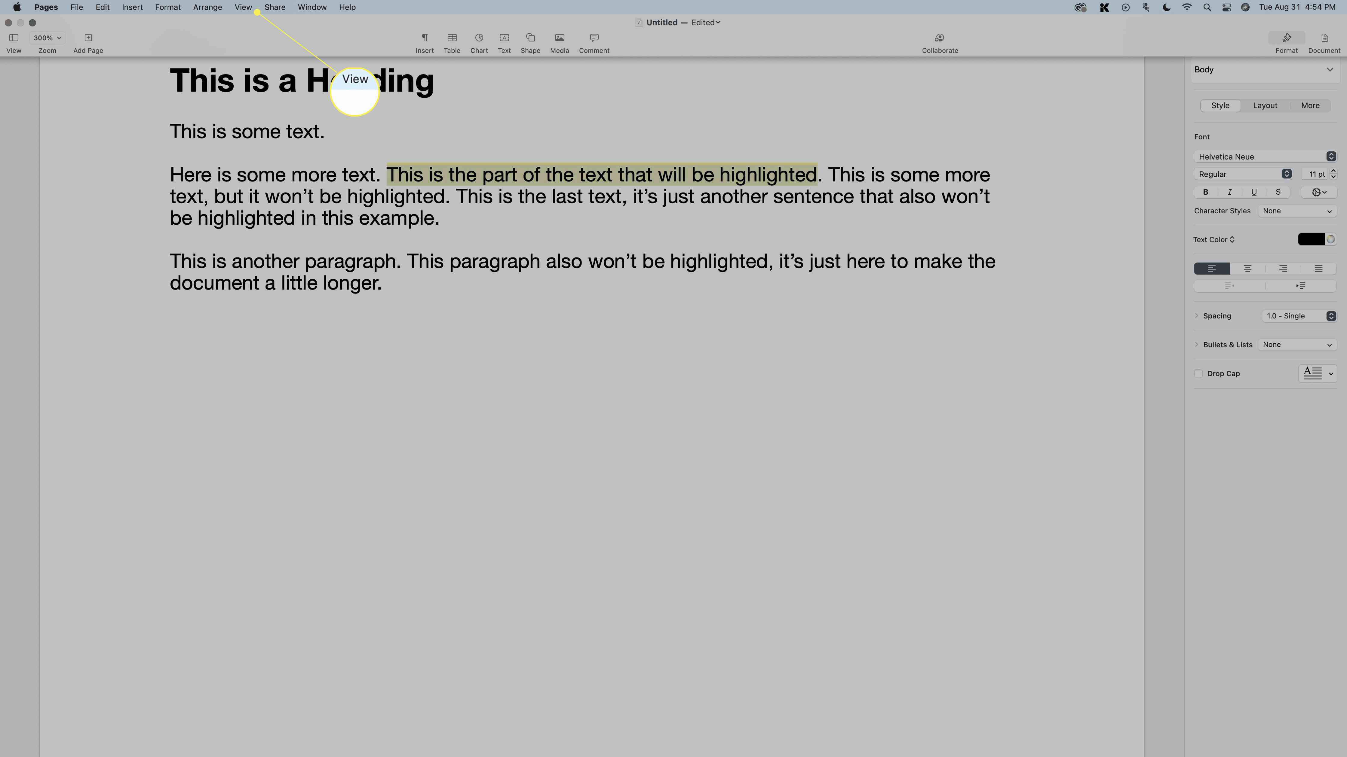 View highlighted in the menu bar in Pages.