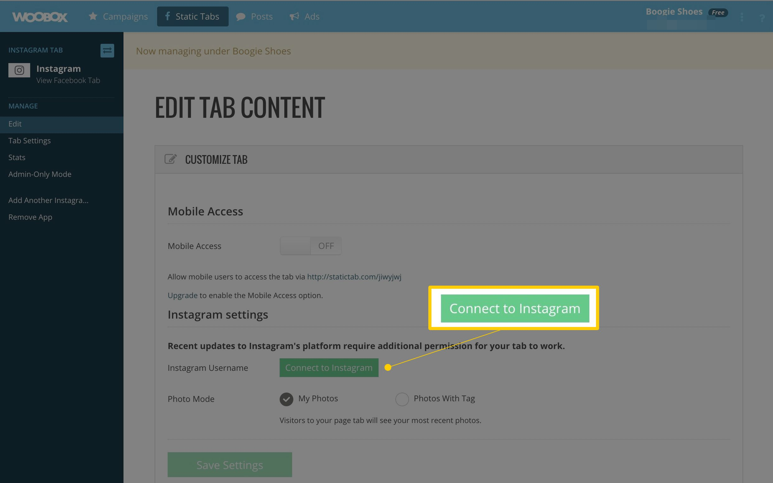 Connect to Instagram button in Woobox editing page