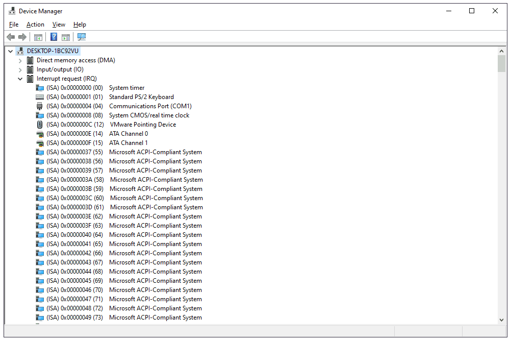 Device Manager IRQ list