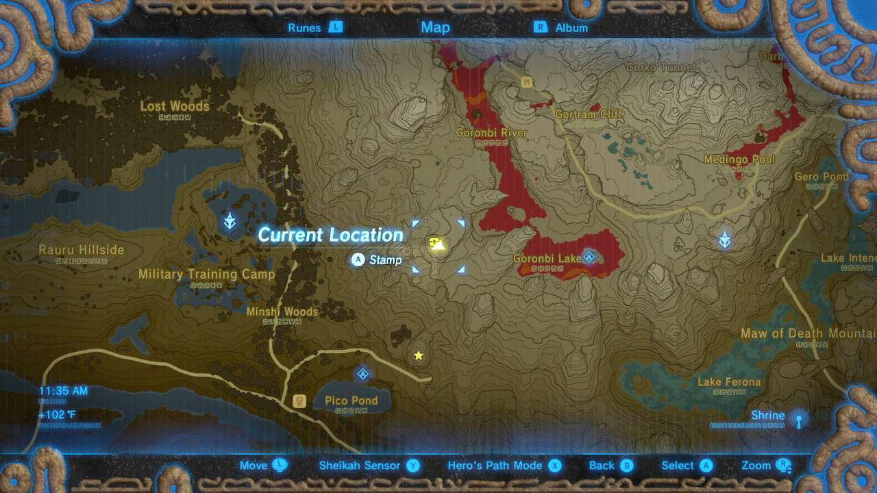 Map of Eldin Canyon in The Legend of Zelda: Breath of the Wild.