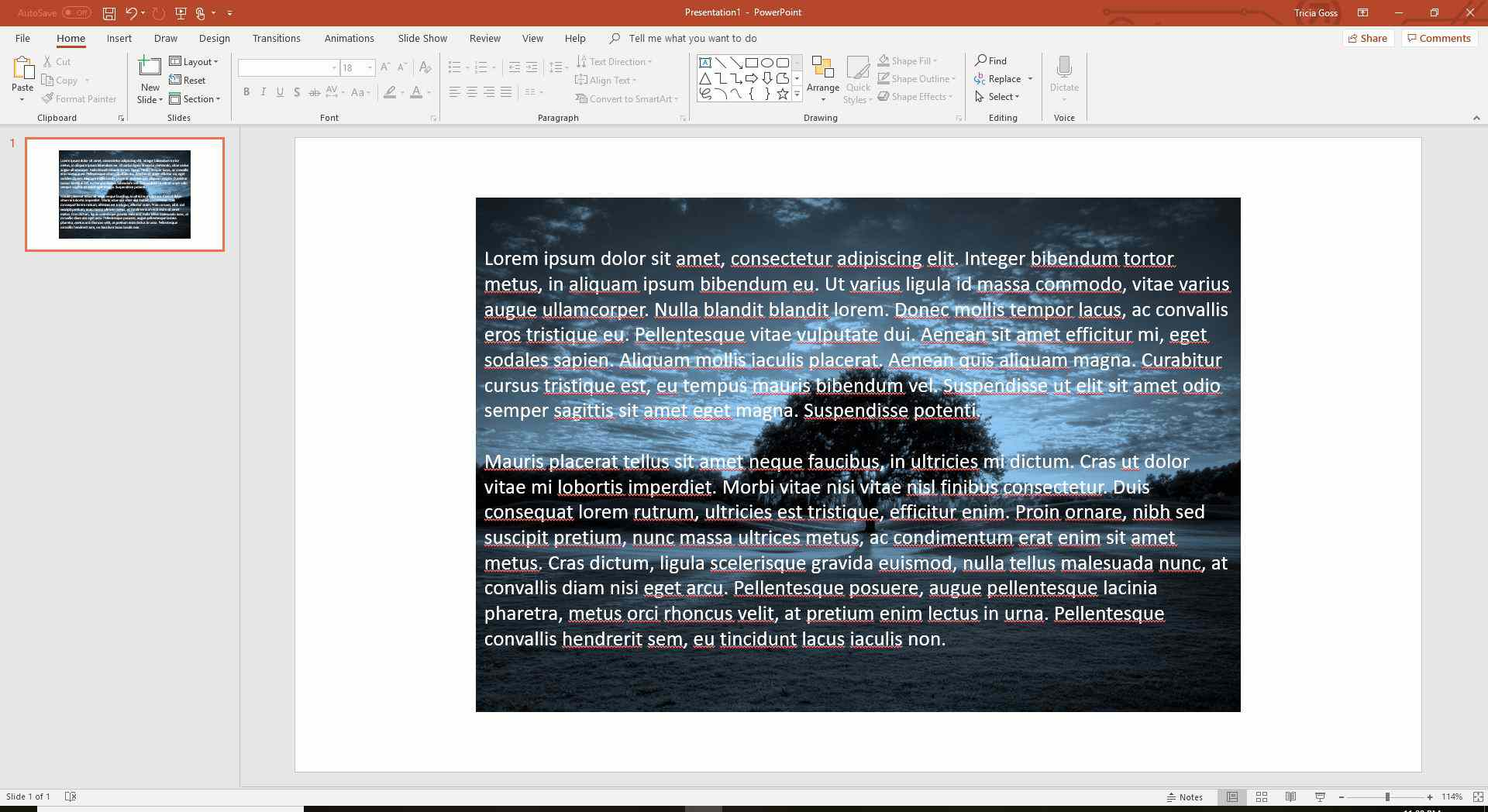 Text on image in PowerPoint