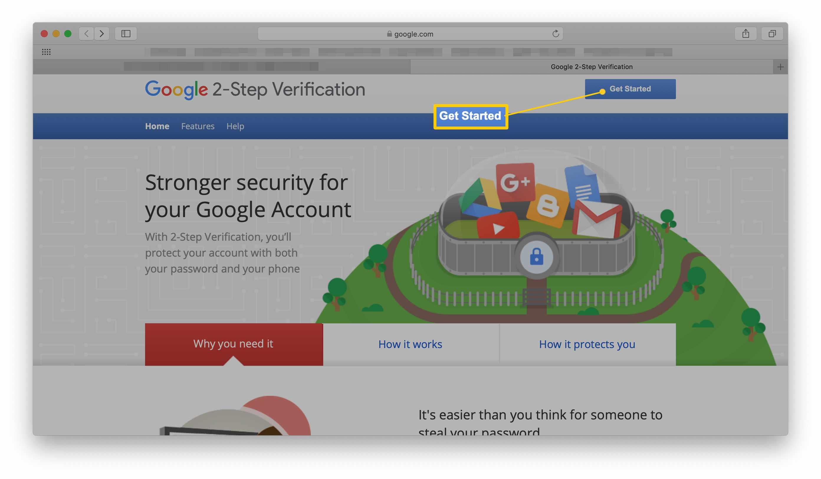 Google 2-Step Verification Setup page