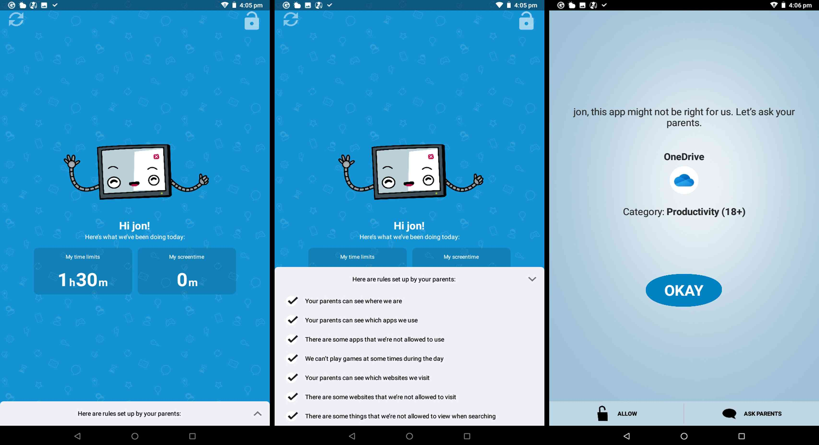 ESET Parental Control app on Android.