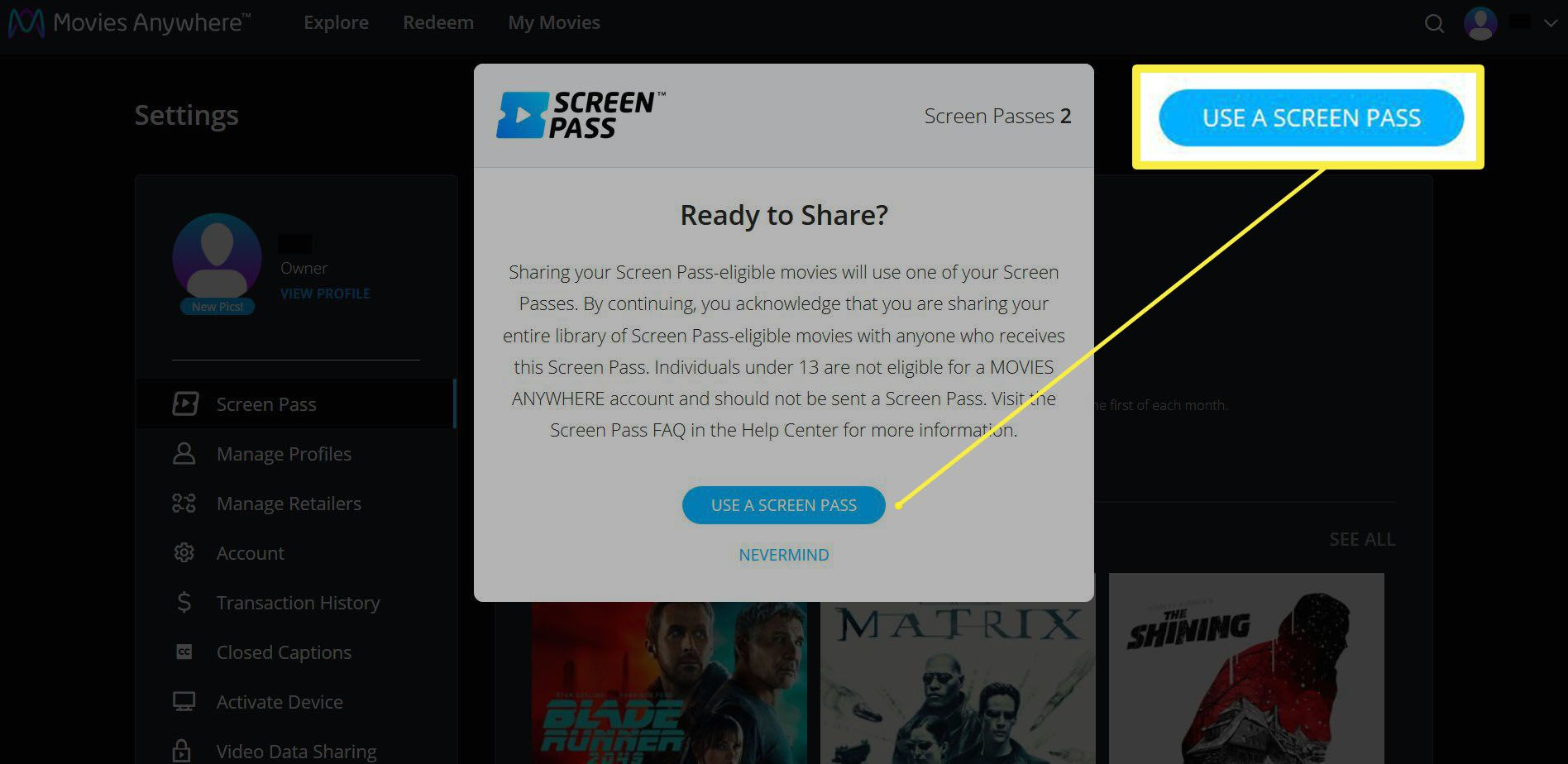 Window with the option to use a screen pass for the list of your movies on the Movies Anywhere site.