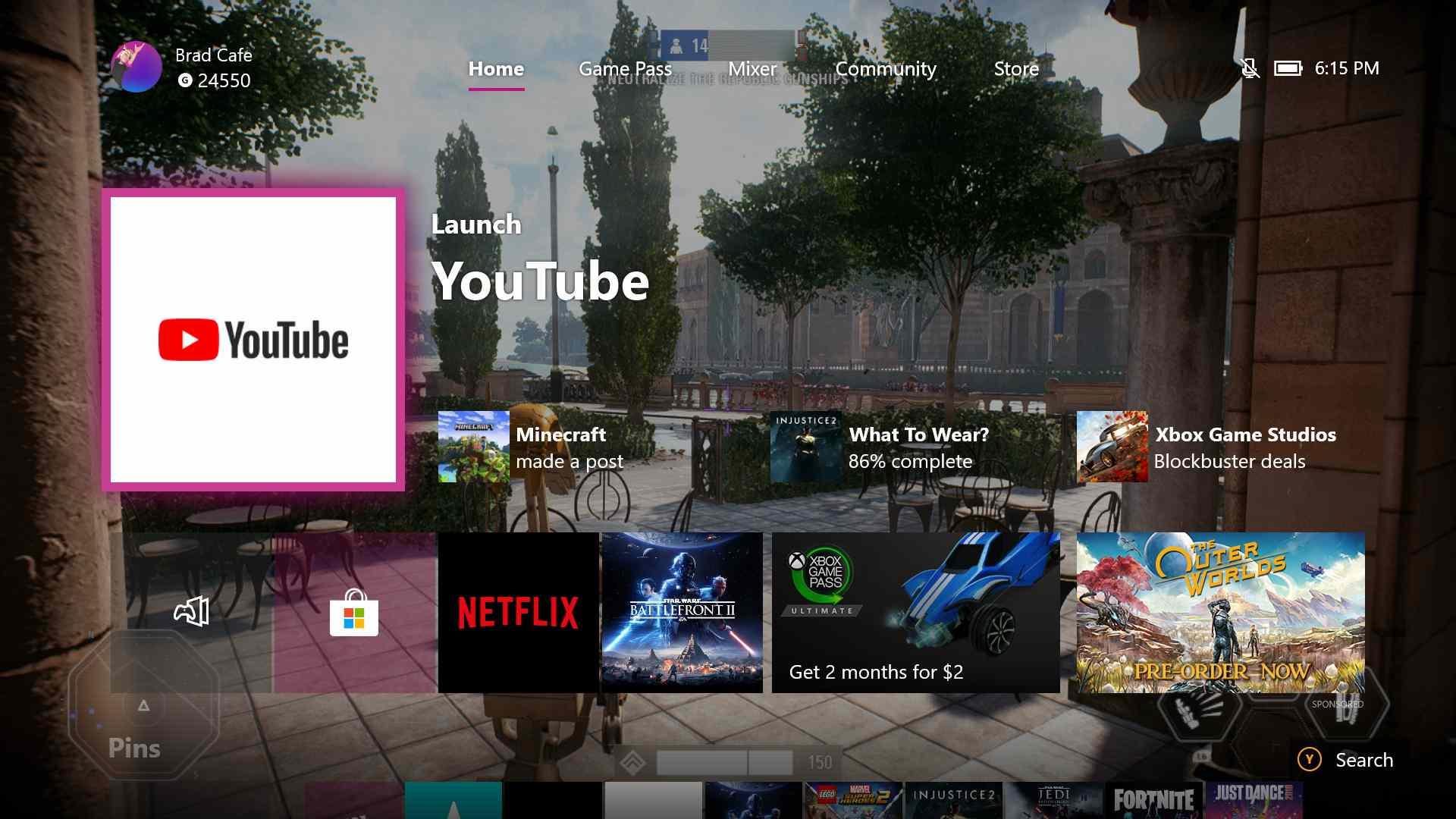 Xbox One dashboard.
