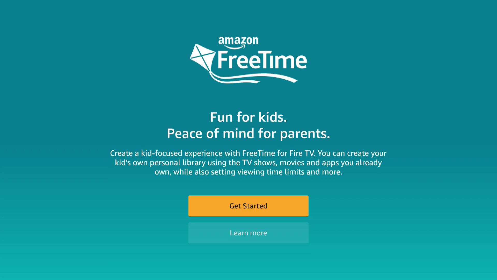 A screenshot of the FreeTime opening screen on Firestick.