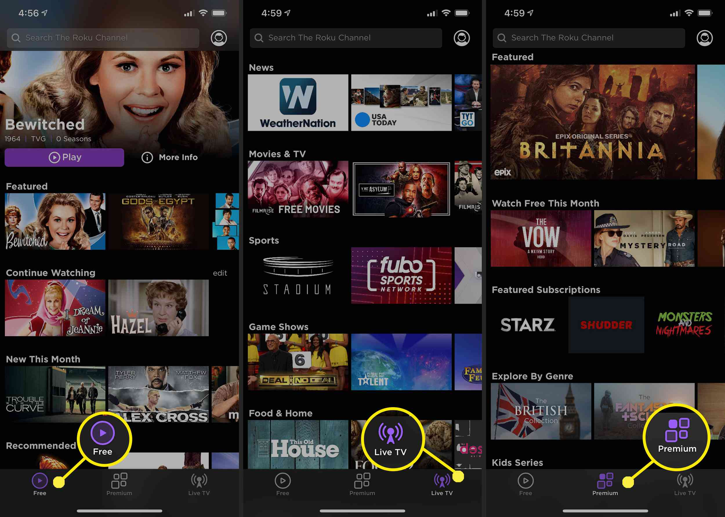 The Roku Channel iPhone app.
