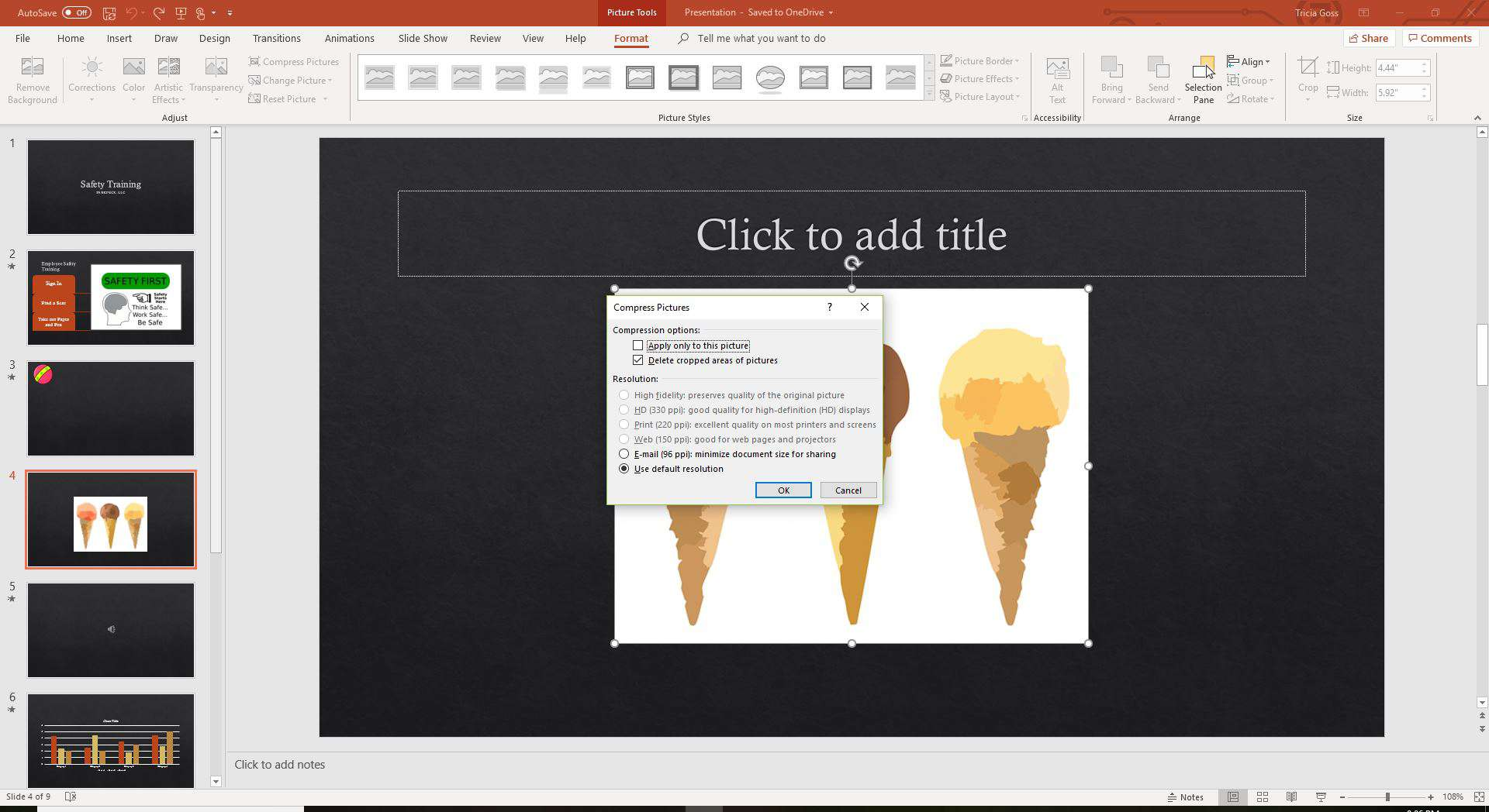 Compress photos in PowerPoint