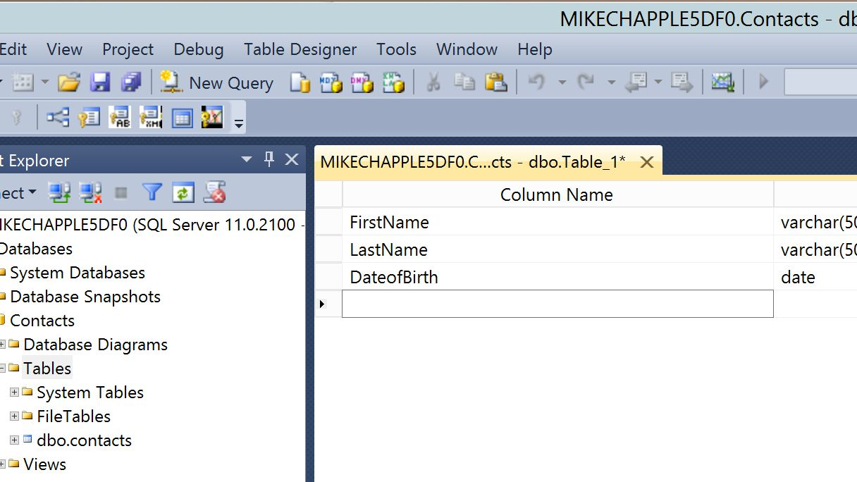 Creating a Table with SQL Server 2012