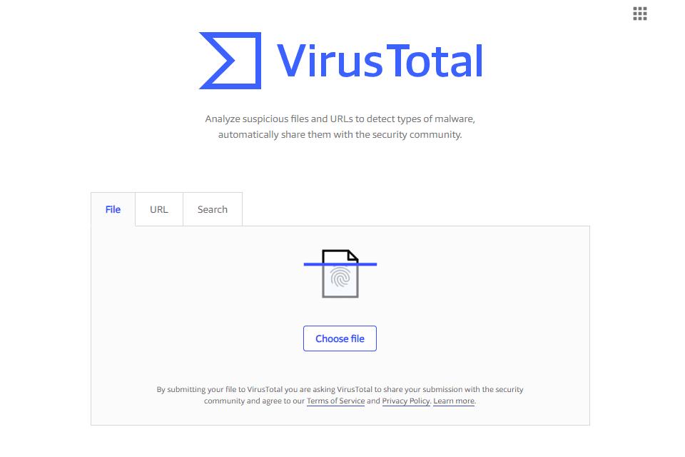 Screenshot of the VirusTotal homepage