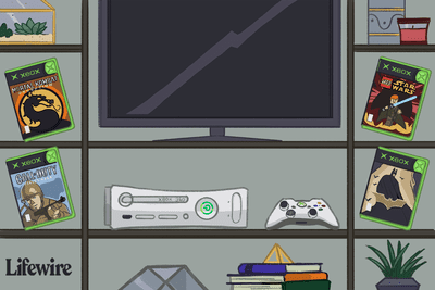Illustration of an Xbox 360 console surrounded by original Xbox games
