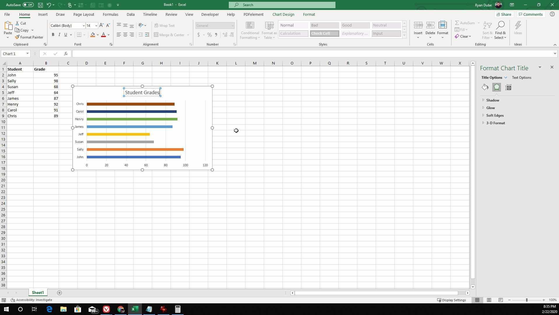 Screenshot of changing chart title