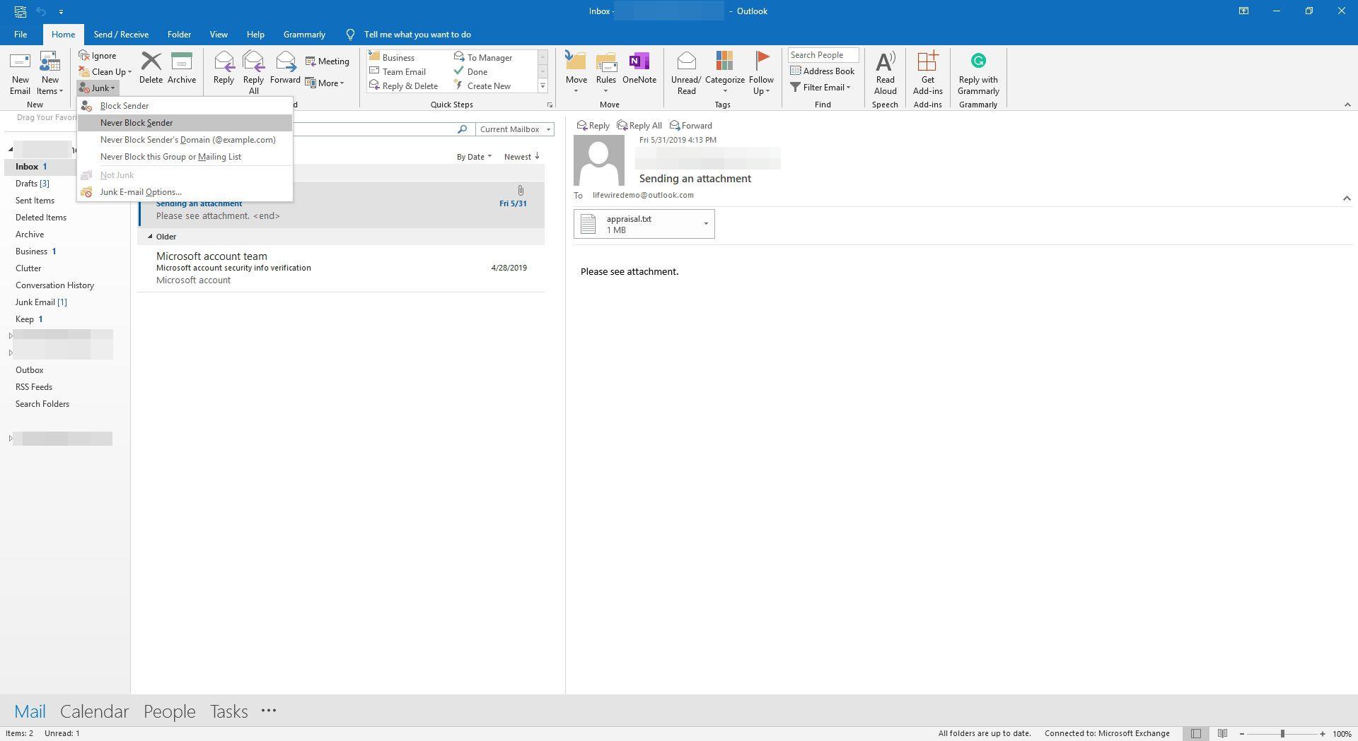 Selecting to never block sender in Outlook.