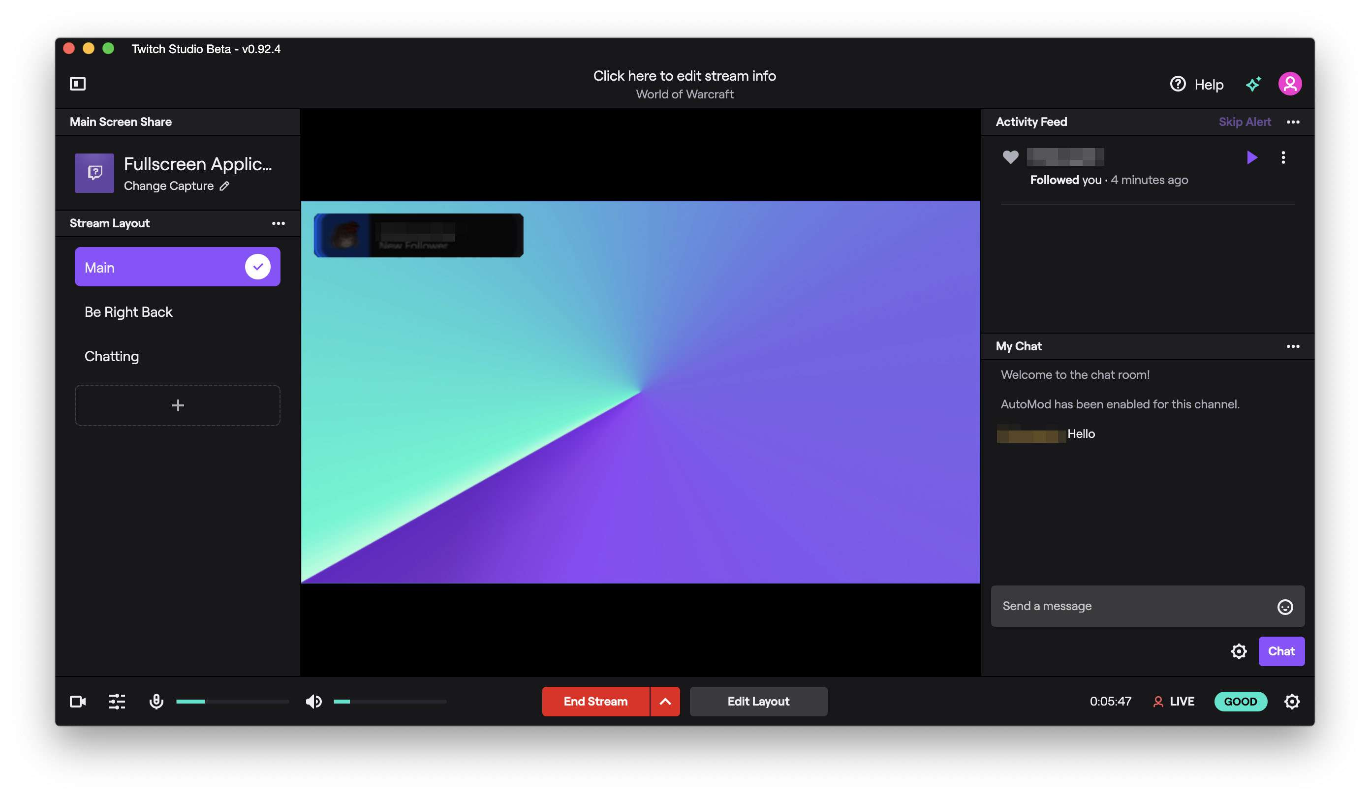 Twitch Studio app with a stream of the desktop running