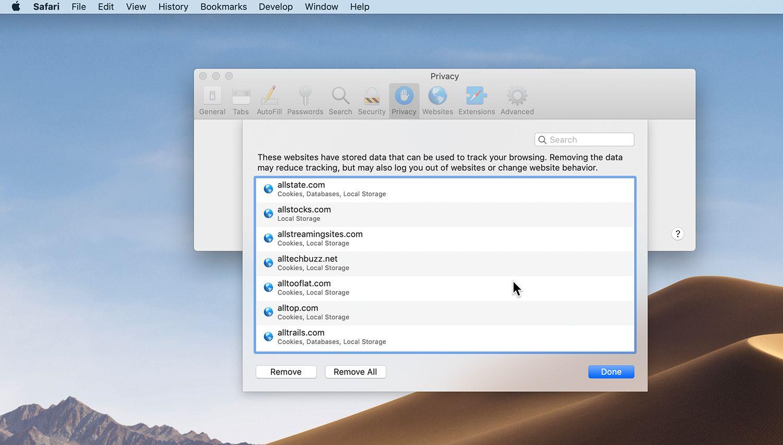 Mac Safari Preferences Privacy tab