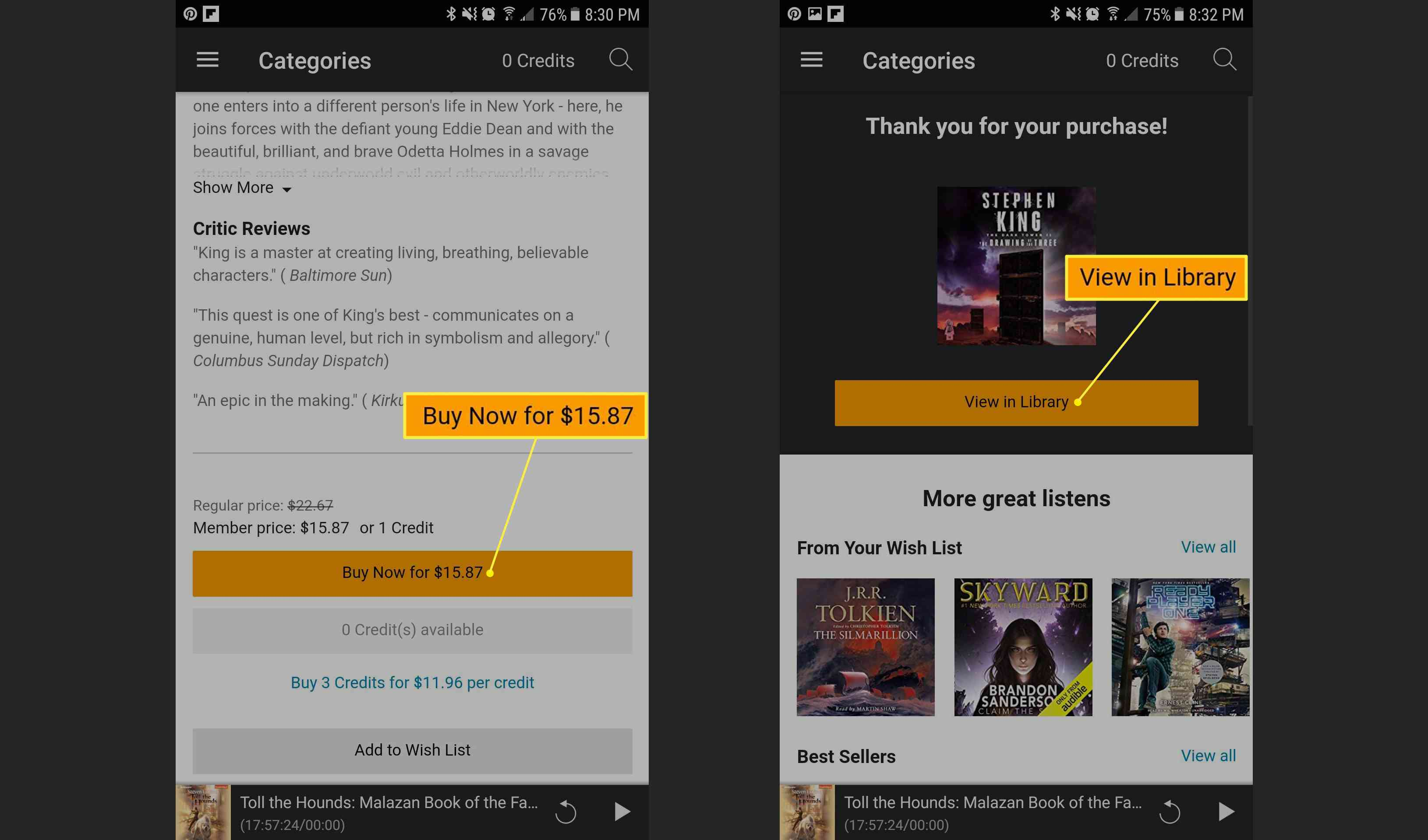 Audible app showing Buy Now option