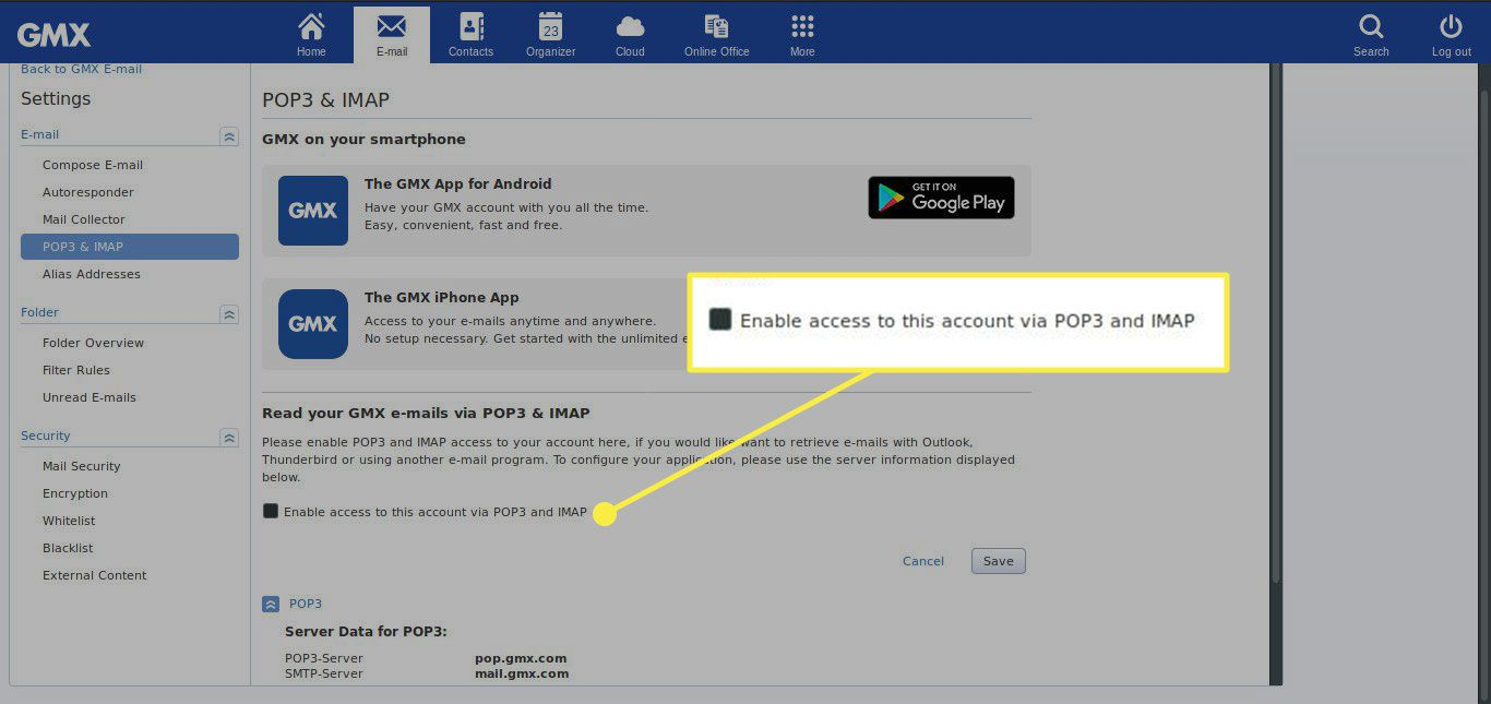 A screenshot of GMX's POP3 & IMAP settings with the
