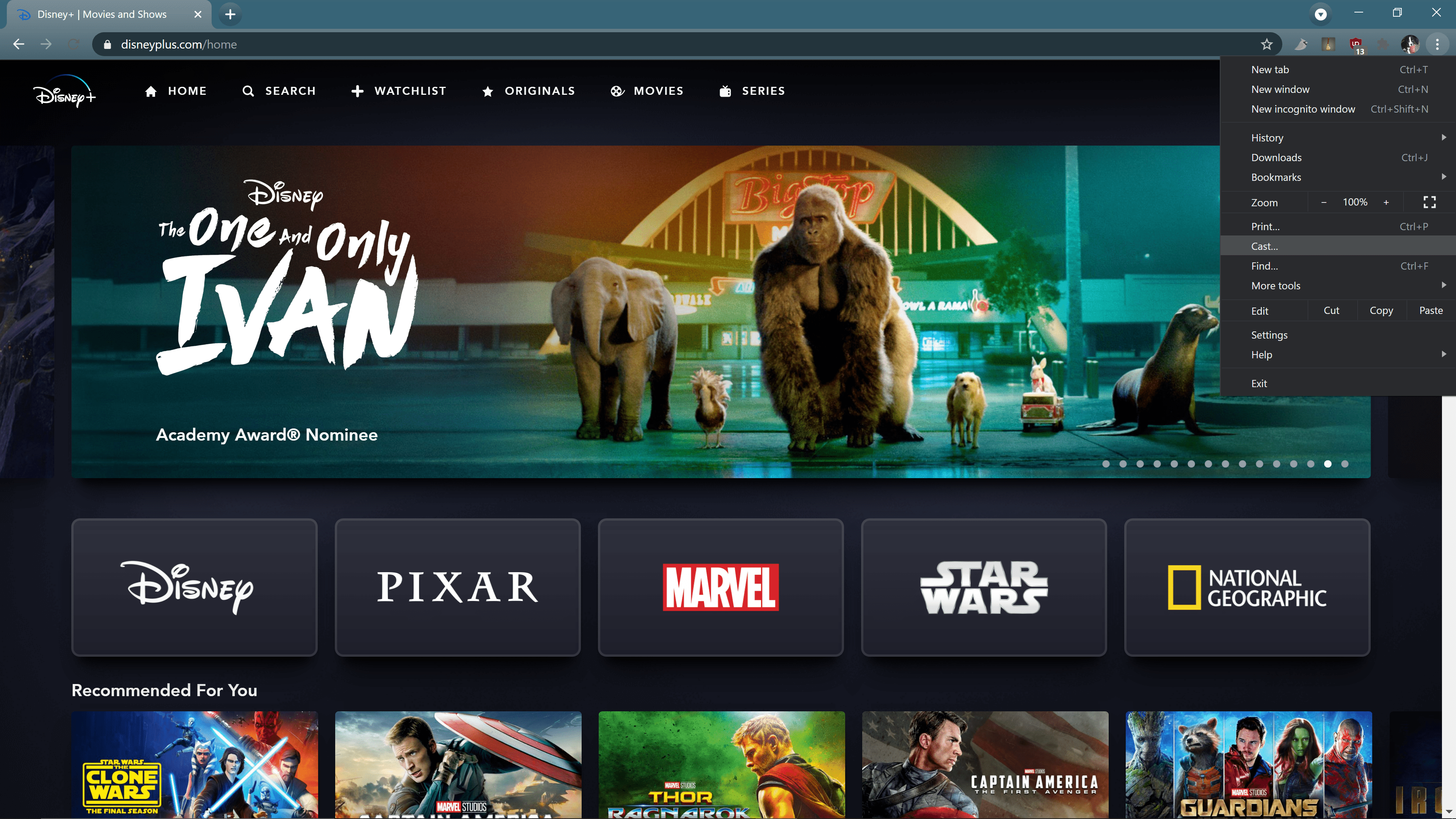 Cast... highlighted in the main Chrome menu with Disney Plus open.