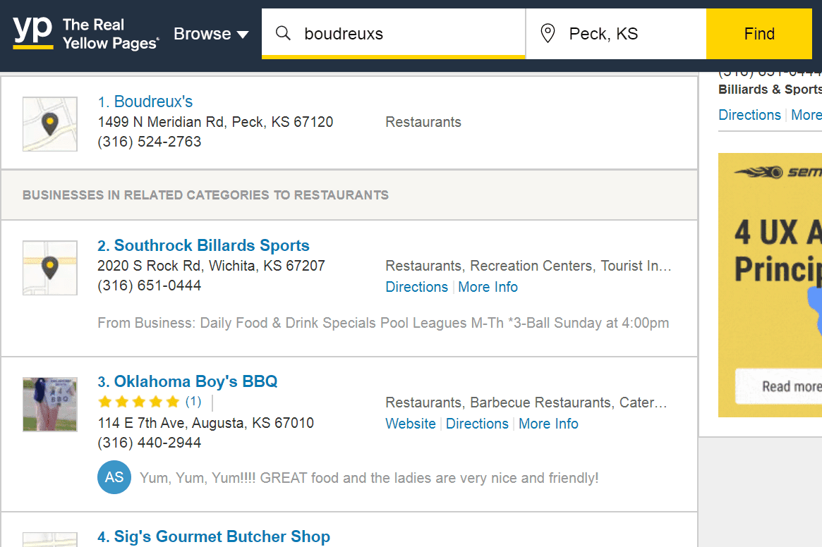 YP.com business results list