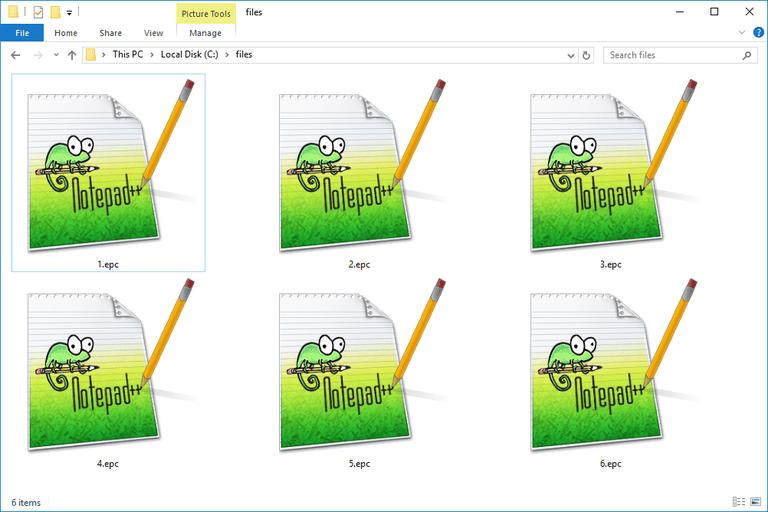 screenshot of EPC Files