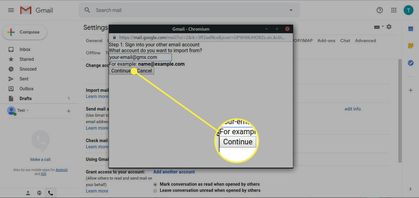 A screenshot of Gmail's Import account screen with the Continue button highlighted