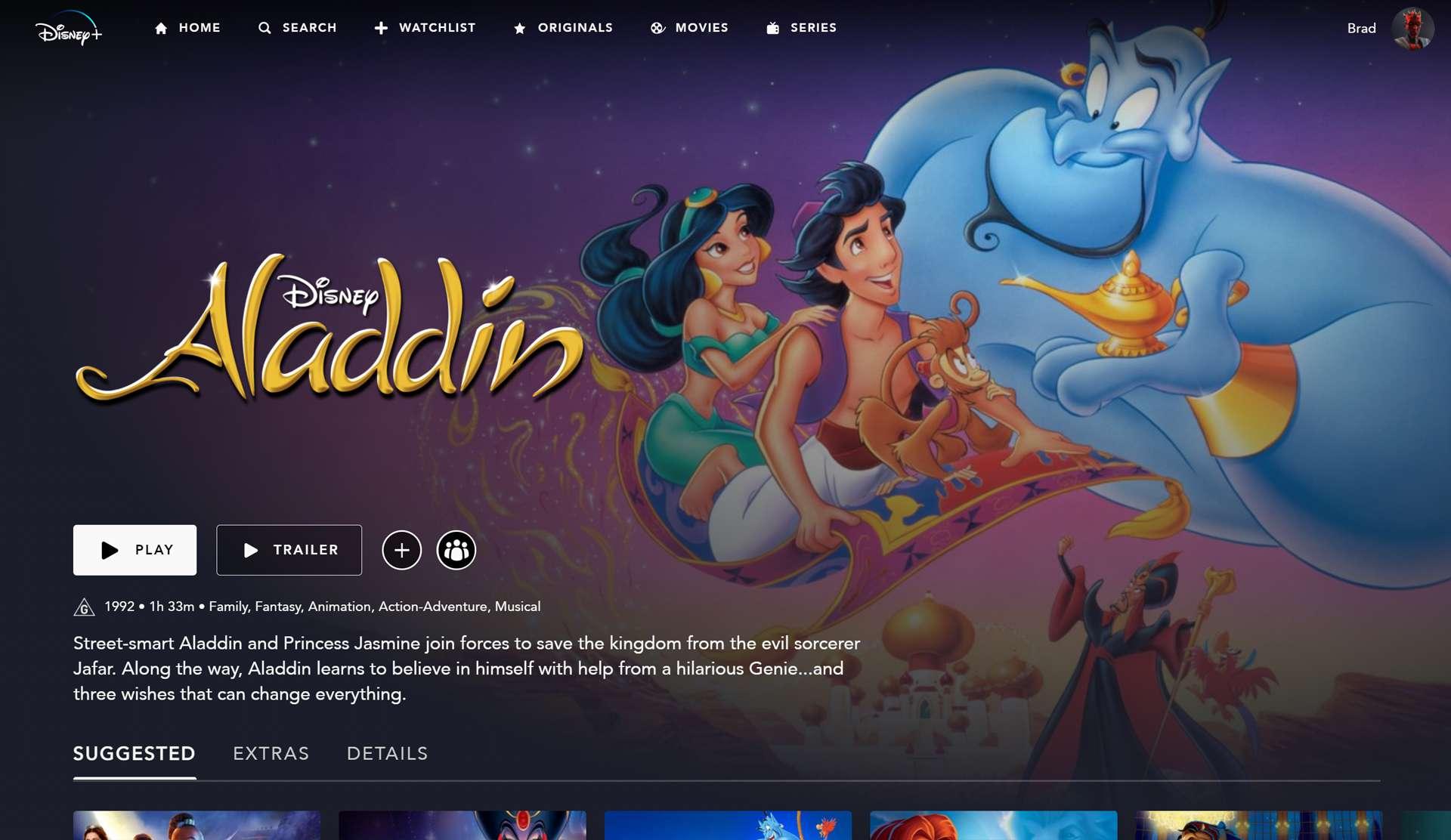 Disney's Aladdin animated film on Disney Plus app and streaming service.