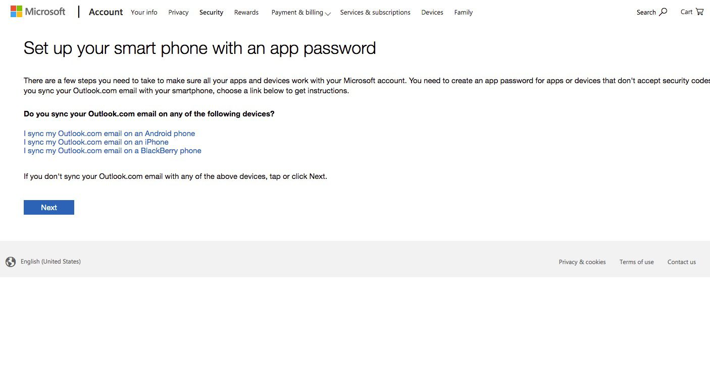 Screenshot of setting up smartphone with app password