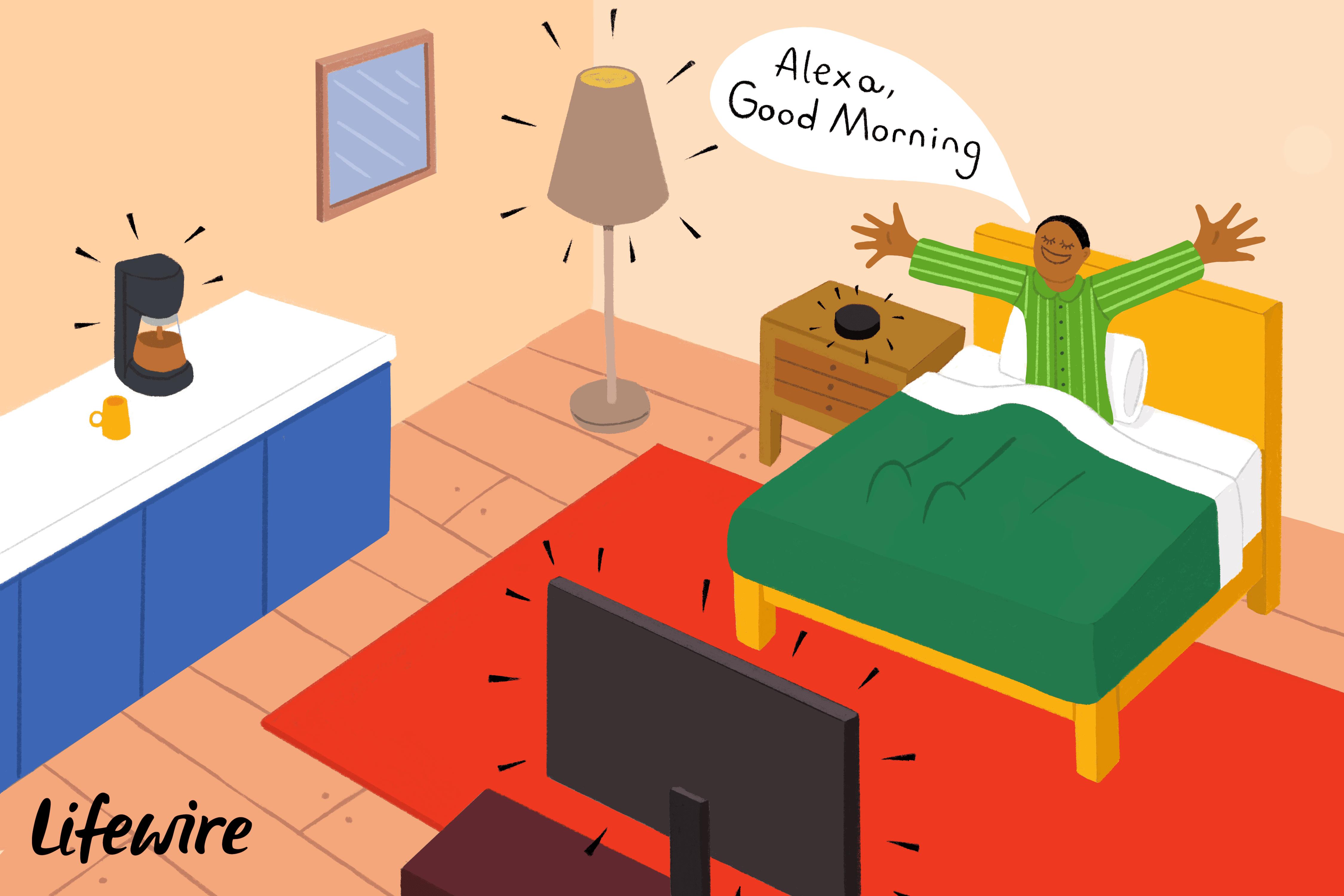 Person wishing Alexa a good morning.