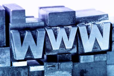 www in metal block letters