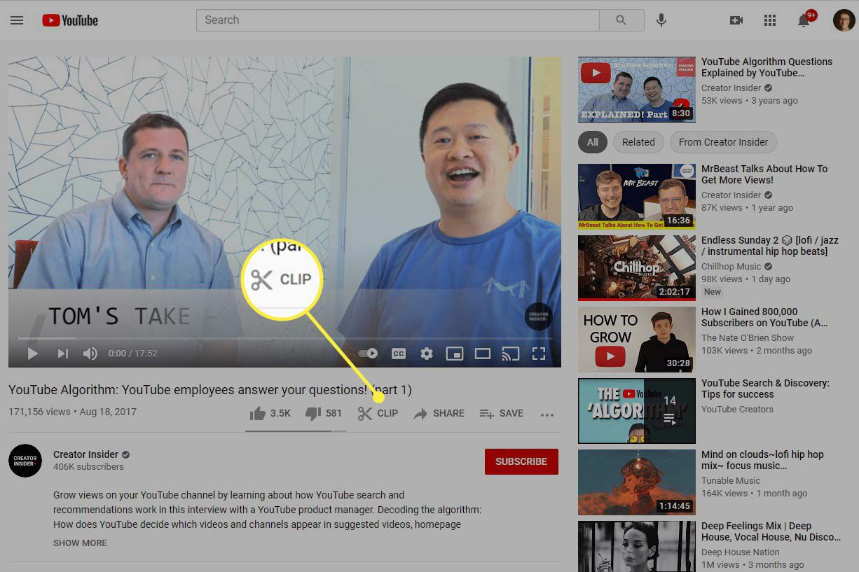 The Clip button highlighted under a YouTube video.
