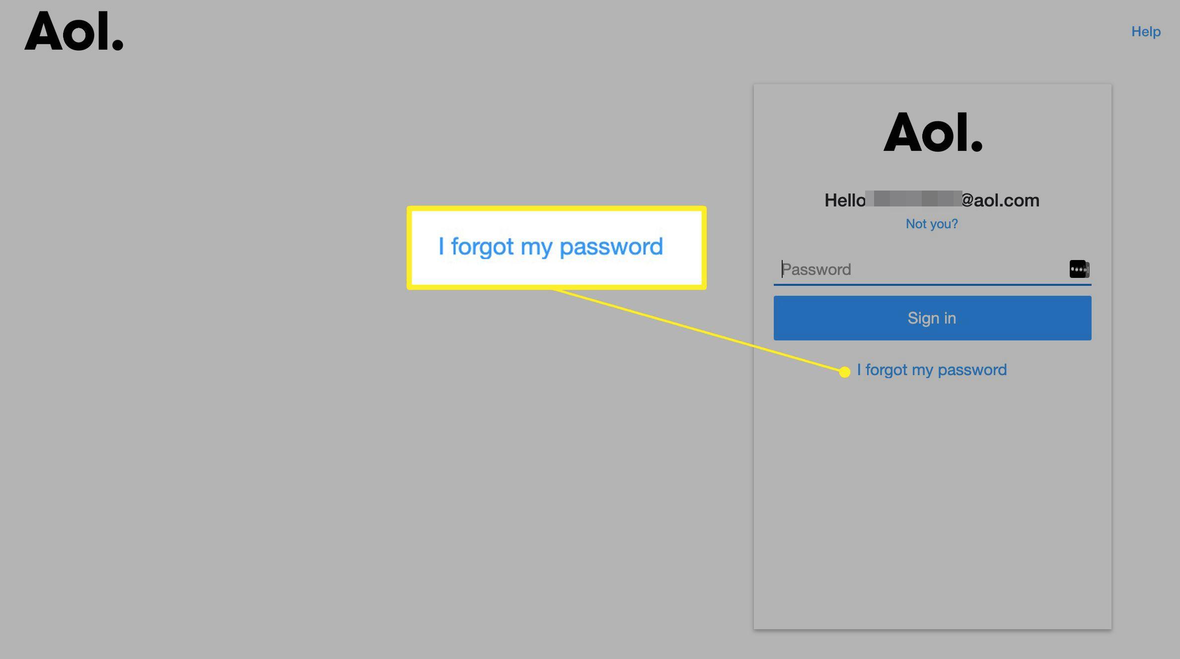 AOL forgot password