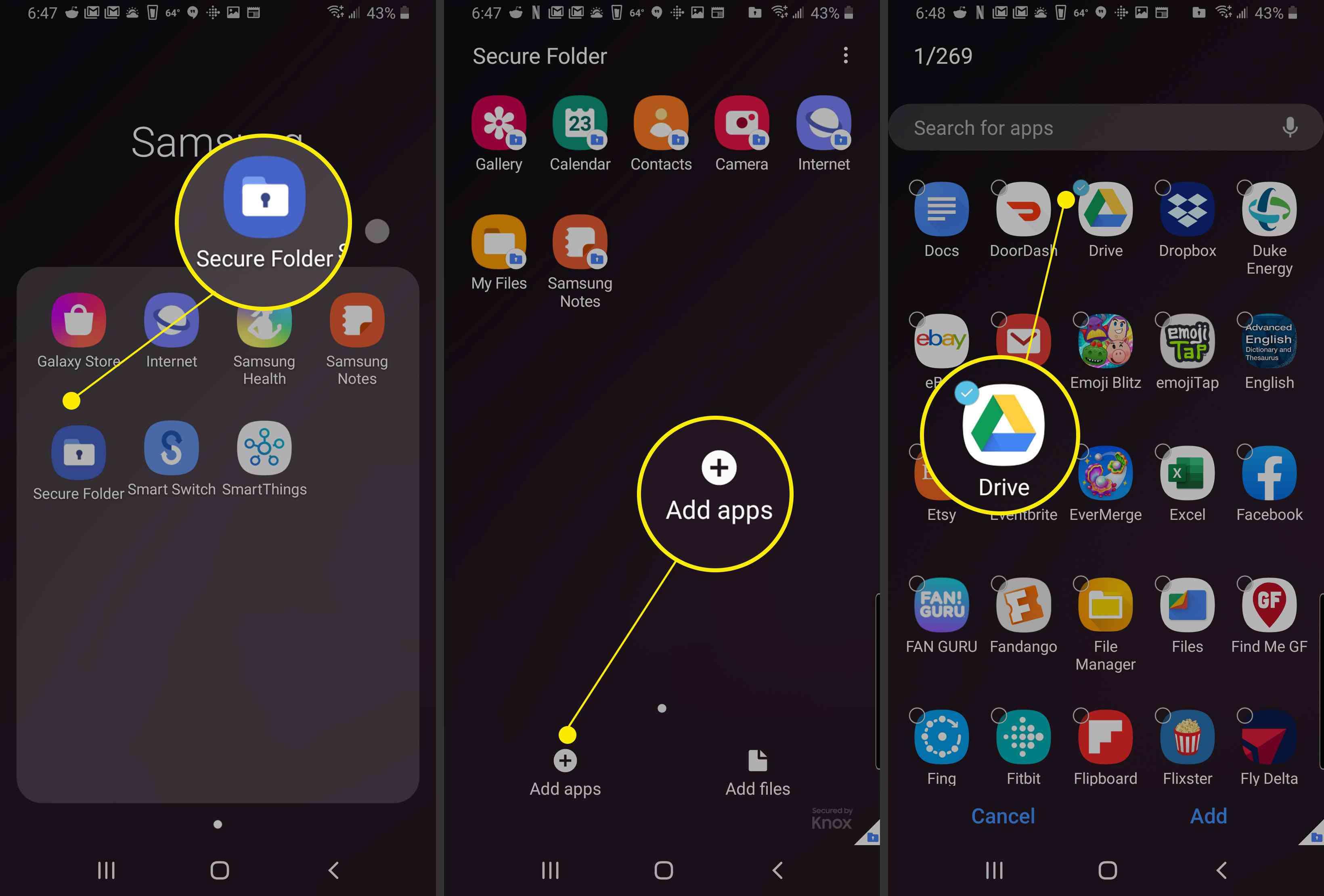 Adding an app to Samsung Secure Folder.